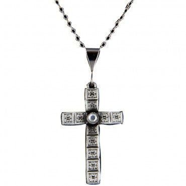 Montana Silversmiths Ladies Gunmetal Purple Heart Cross Necklace - Pete's Town Western Wear