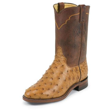 Justin Men's Ropers Antique Cognac Full Quill Ostrich Boots - Pete's Town Western Wear
