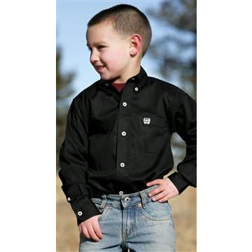 Cinch Boy's Black Long Sleve Solid Twill Weave Button Western Dress Shirt - Pete's Town Western Wear