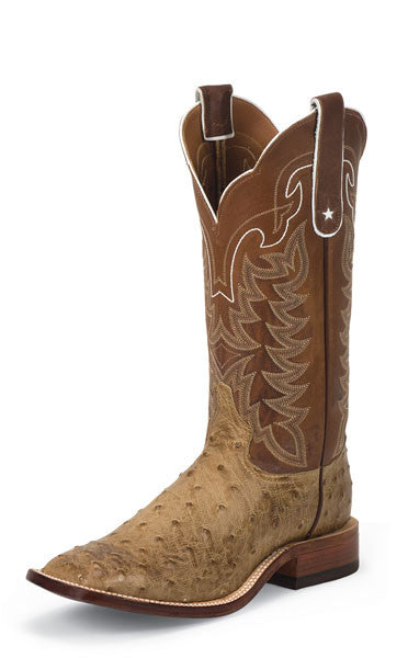 Tony Lama Mens San Saba Antique Tan Full Quill Ostrich Boots - Pete's Town Western Wear