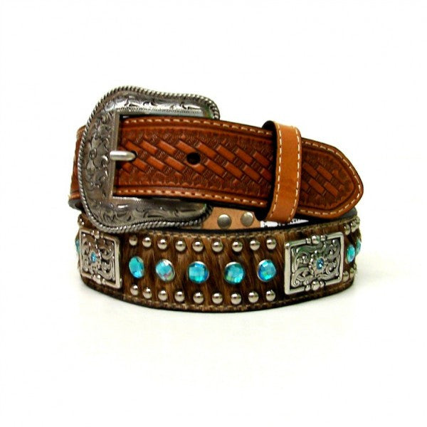 Kids Western Fashion Rhinestone and Hair on Leather Belts - Pete's Town Western Wear