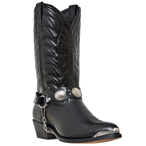 Black Rockstar Cowboy Boots with Harness and Bling