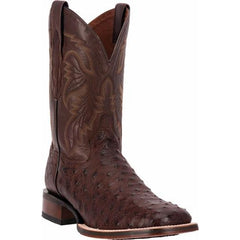 "Dan Post Men's 11"" Chocolate Full Quill Ostrich Broad Square Toe Boots"