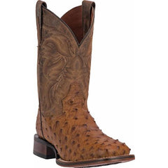 Saddle Tan Dan Post Full Quill Ostrich Square Toe Cowboy Boot