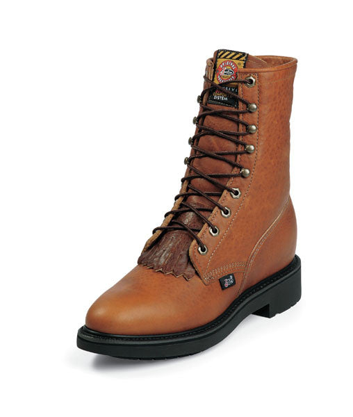 "Justin Mens 8"" Lace-R's Work Boots Copper Caprice Pull on's - Pete's Town Western Wear"