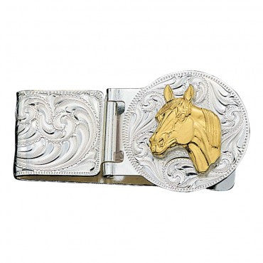 Montana Silversmiths Horse Head Hinged Money Clip - Pete's Town Western Wear