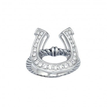 Montana Silversmiths Ladies Horseshoe On A Rope Silver Ring - Pete's Town Western Wear