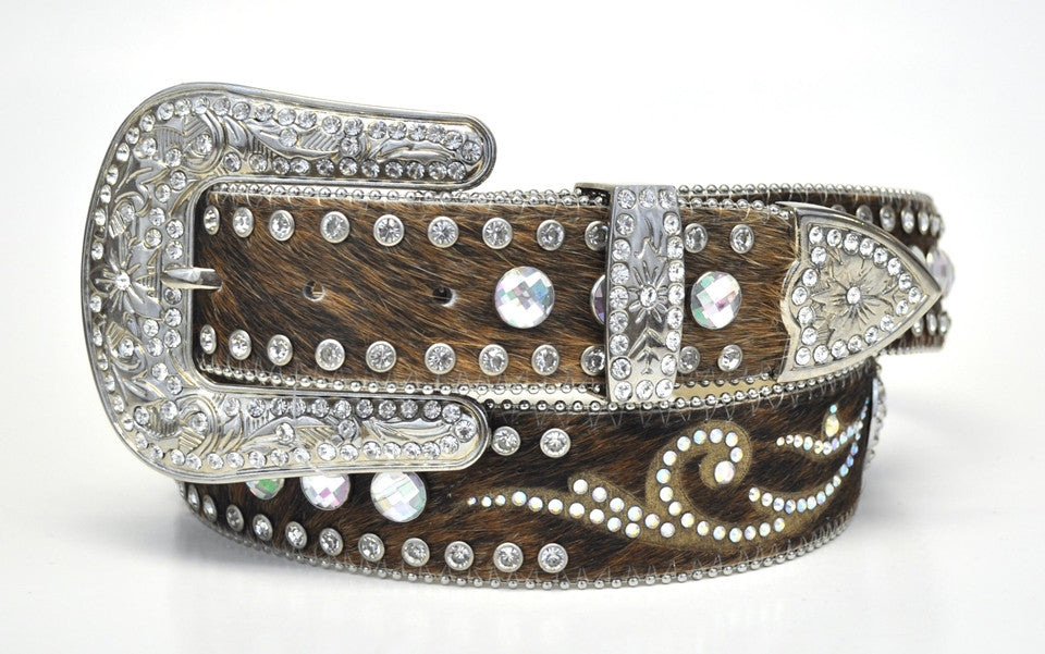 Nocona Ladies Brown Hair On Crystal Swirl Rhineston Leather Belt - Pete's Town Western Wear