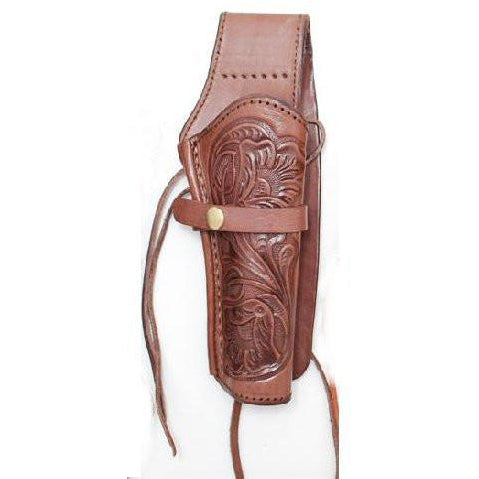 Hand Tooled Choco Embossed Leather Western Ties Gun Belt Holster - Pete's Town Western Wear