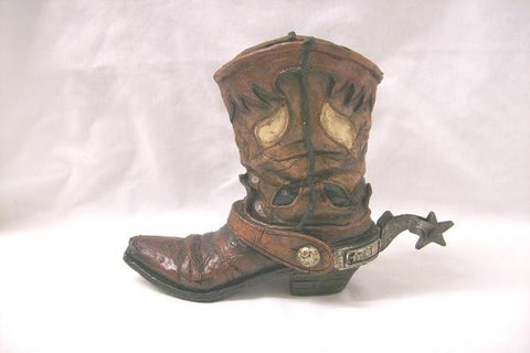 Western Style Boot Vase From Western Express Brown - Pete's Town Western Wear