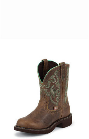 "Justin Womens Gypsy 8"" Tan Jaguar Round Toe Cowgirl Boots - Pete's Town Western Wear"