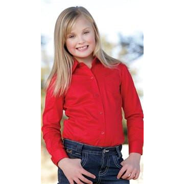 Cruel Girl Kids Pinpoint Collection Red Logo Western Shirt - Pete's Town Western Wear