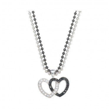 Montana Silversmiths Ladies Double Heart Silver N Black Necklace - Pete's Town Western Wear