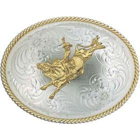 German Silver Bull Rider Buckle - Pete's Town Western Wear