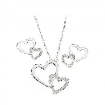 Montana Silversmiths Ladies Double Hearts With CZ Jewelry Set - Pete's Town Western Wear
