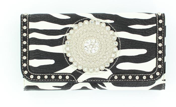 Ladies Nocona Zebra Print Round Concho And Crystals Wallet - Pete's Town Western Wear