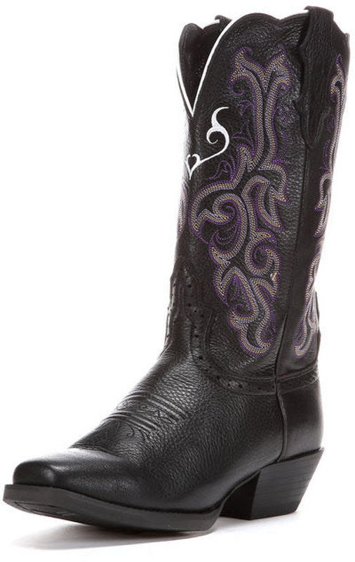 "Justin Womens Stampede 12"" Black Deercow Western Cowgirl Boots - Pete's Town Western Wear"