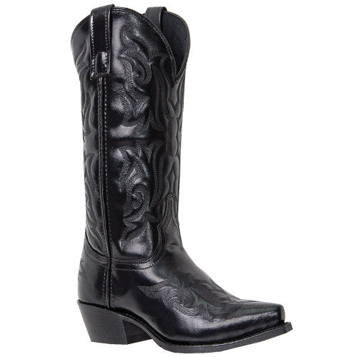 Laredo Men's Black Western Snip Toe Cowboy Boot with Design