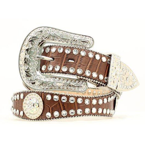 Blazin Roxx Ladies Scalloped Rhinestone Brown Leather Belt - Pete's Town Western Wear