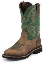 "Justin Men's 11"" Blade Green and Tan Round Steel Toe Pull-On Work Boot with Saddle. - Pete's Town Western Wear"