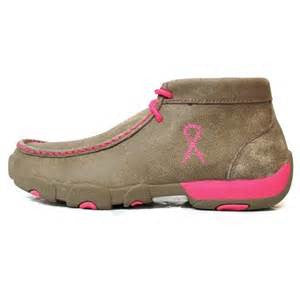Twisted X Women's Breast Cancer Awareness Neon Pink Driving Moccasin Western Casual Shoes - Pete's Town Western Wear
