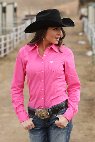 Cinch Ladies Pink Show Shirt- Pete's Town Western Wear