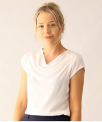 Cowl Neck Cap Sleeve Top in White