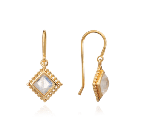 Etrusca Diamond Drop Earrings with Moonstone