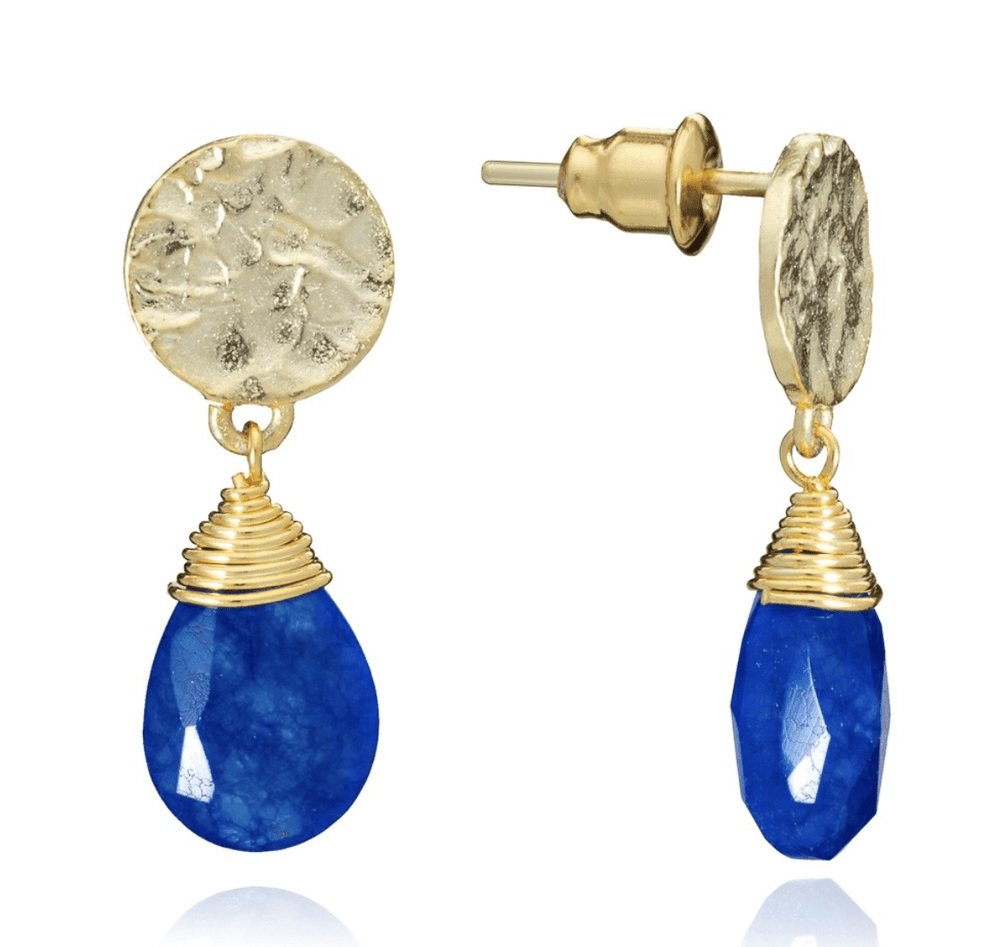 AZUNI LONDON Earrings Gold Kate Small Drop Earrings in Lapis