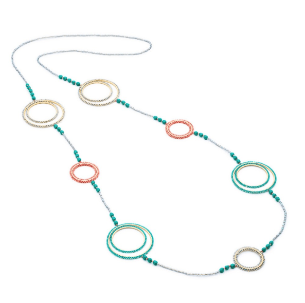 AZUNI LONDON Necklaces Delica Multi Hoop Long Necklace in Green/Pink