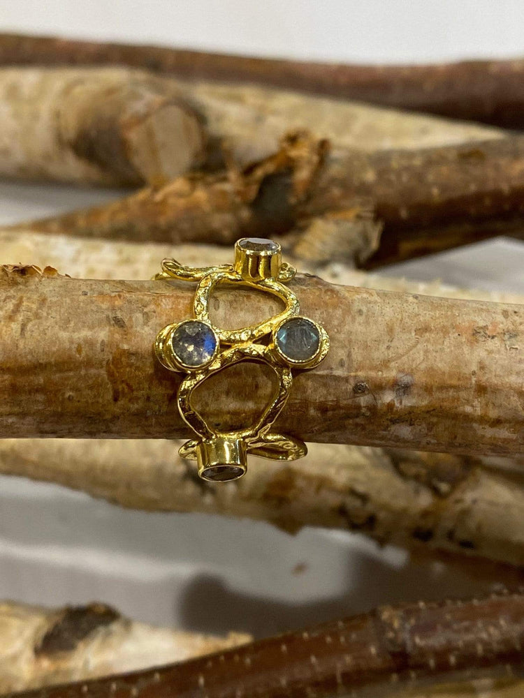 Thalia Small Gold Sculptural Ring in Labradorite