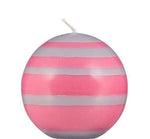 Small Striped Ball Candle Rose & Willow