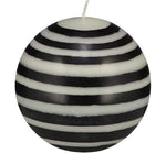 Large Striped Ball Candle Black & White
