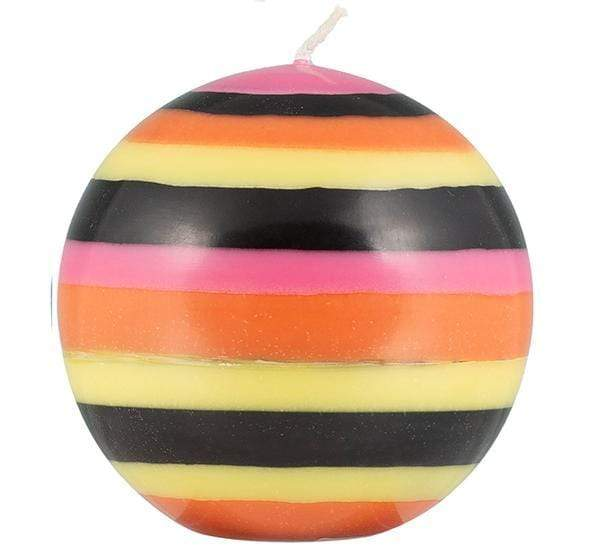 Large Striped Ball Candle Orange/Black/Pink