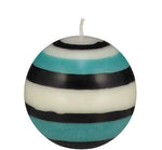 Small Striped Ball Candle Jet/Pearl/Honey Bird