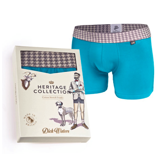 Heritage Houndstooth Teal Boxer