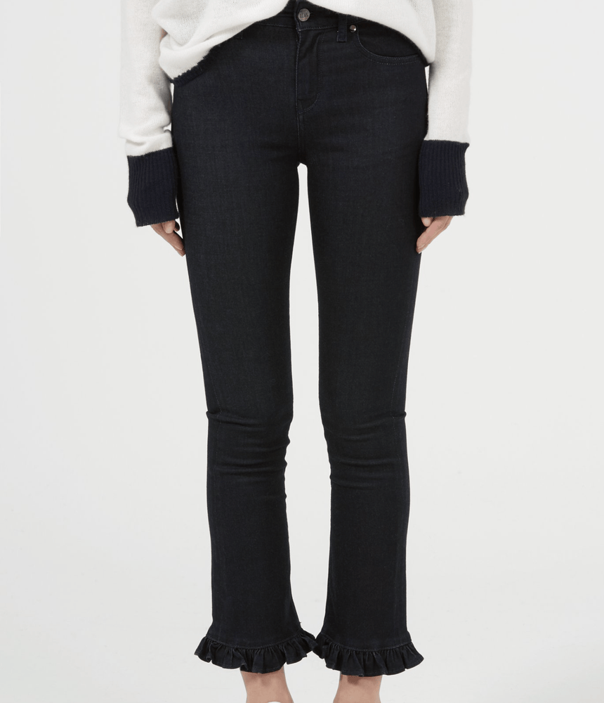 Iris cropped frilled jeans in Midnight Sky