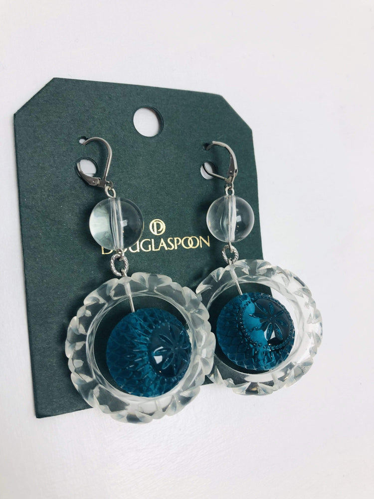 Douglaspoon Earrings Frosted Ball Circle Earrings in Clear + Turquoise