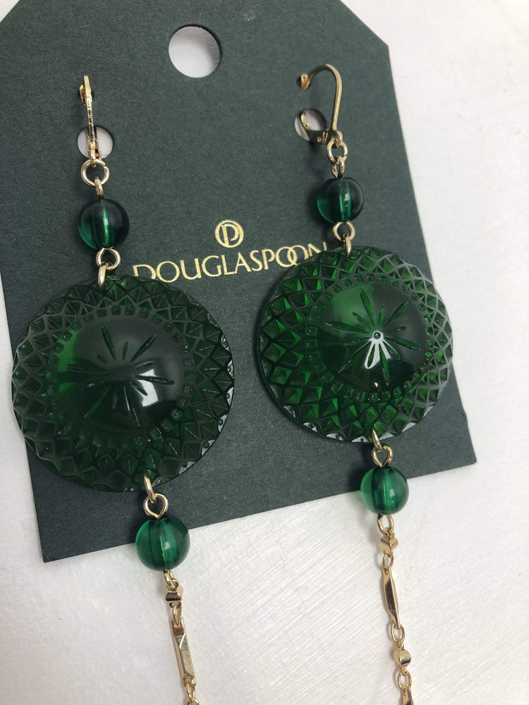 Douglaspoon Earrings Long String Disc Earrings in Green