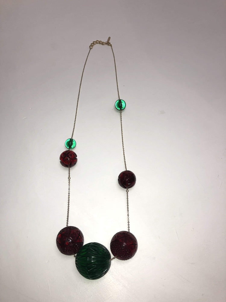 Long Sphere Necklace in Amber + Green