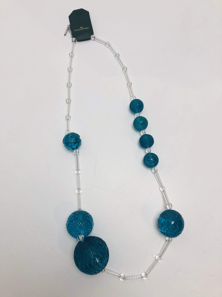 Multi Sphere Necklace in Clear + Turquoise