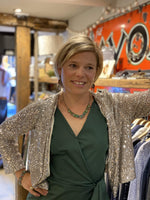 EMME Jackets Retore Sequinned Cardy/Jacket in Silver