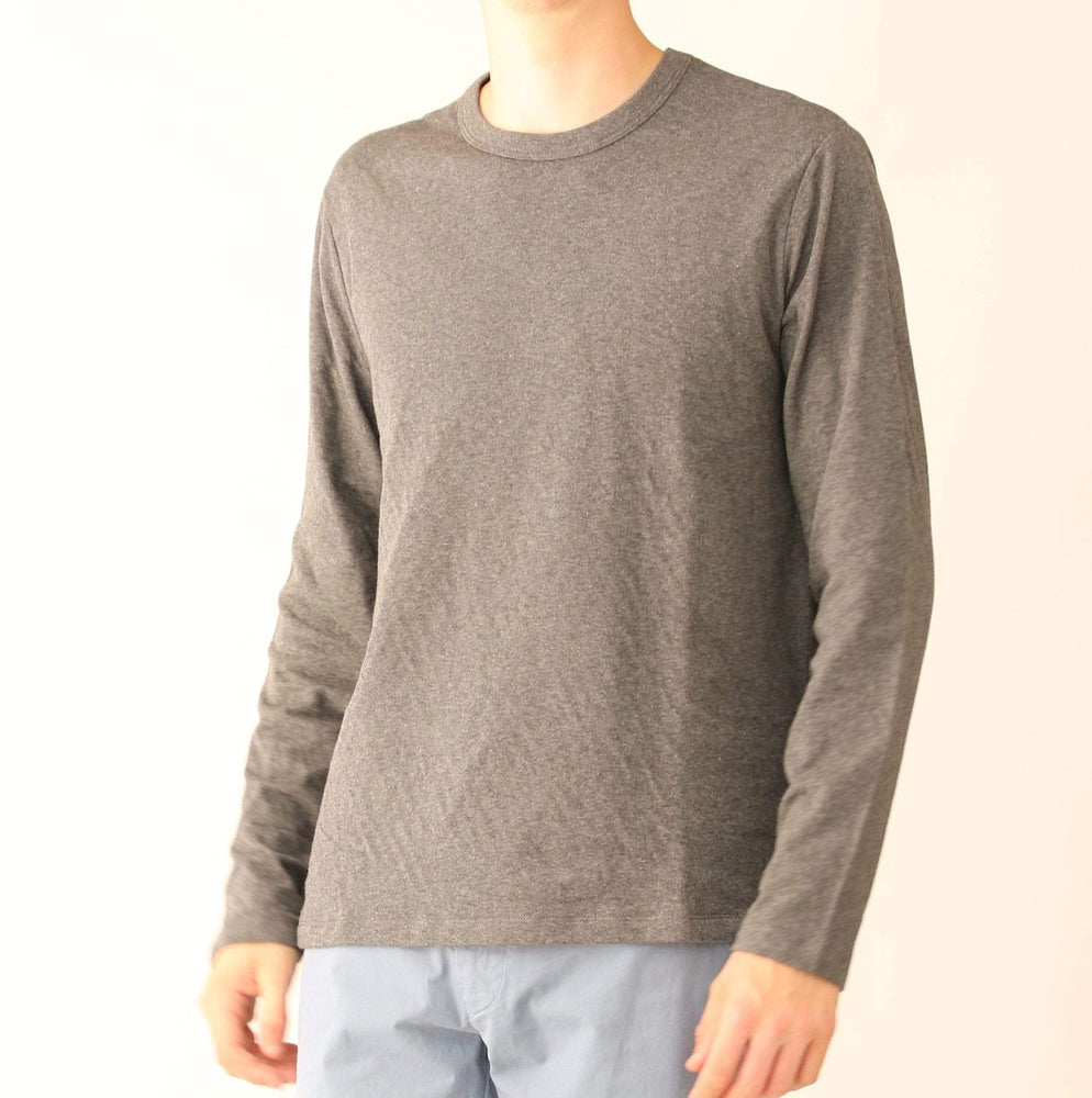 Hartford - Mens Mens T-Shirts Double Faced Crew L/S T-Shirt In Grey/Indigo