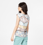 IVKO Woman Tops Geometric Print Top in Linen Mix SS21