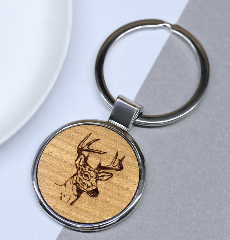 Stag Head Keyring Rhodium Plated
