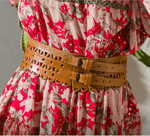 Leather Doily Belt Tan