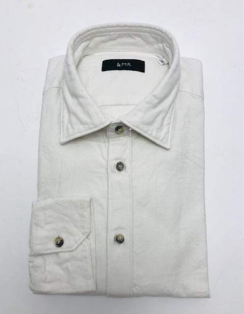 &MR Mens Shirts Snowdon Herringbone Flannel Shirt in Off White