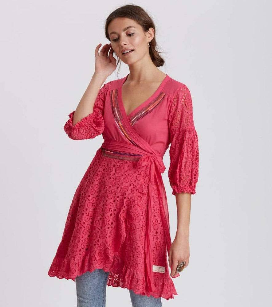 Odd Molly Dresses Two Step Flow Dress in Hot Pink