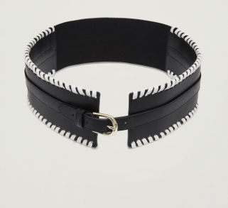 Wide Leather Belt in Black and White