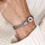 Pig and Hen Mens Accessories Don Dino Bracelet in Navy / Sand / Silver